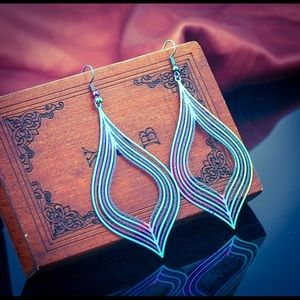 Retro Holographic Striped Matte Rainbow Earrings